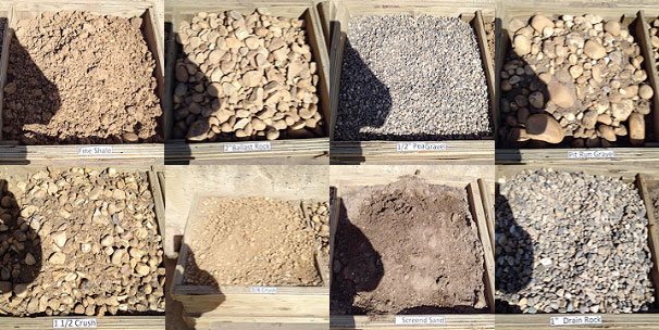 Picture showing of some of the different types of sand, gravel, top soil products we offer.